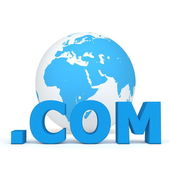 Top-Level Domain - Dot Com in Fron of the World — Stock Photo