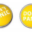Yellow Don't Panic Button — Stock Photo