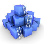 Batch of Shiny Blue Boxes - Climb up with Bright White Ladders — Stock Photo