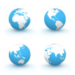 3D Globes in White and Blue — Stock Photo