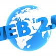 Web 2.0 Around the World - Glossy Blue — Stock Photo