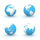 3D Globes in White and Blue — Stockfoto