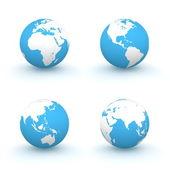 3d globos em branco e azul — Foto Stock