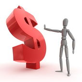 Stopping Shiny Red Dollar Sign - Side View — Stock Photo