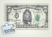 5 Dollar Note Puzzle And Euro Piece — Stock Photo