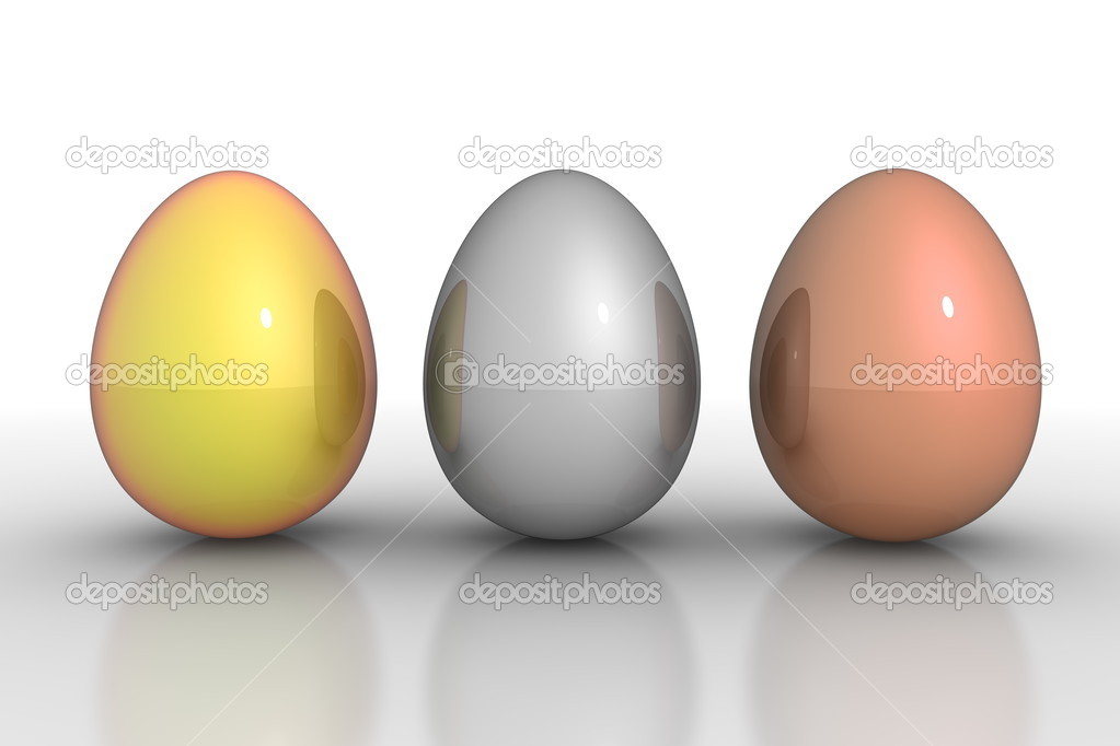 Three metallic eggs ordered in a line - gold, silver, bronze — Stock Photo #9997683