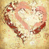 Retro grunge background with hearts painted — Stock Photo