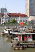 Boats and Russian general consulate — Stock Photo