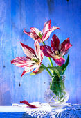 Tulips in vase on wood background — Stok fotoğraf