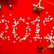Stock Photo: Art new year 2012 red background