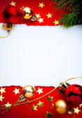 Art christmas frame with paper on red background — Stock Photo