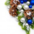 Christmas tree decoration snowflakes frame — Stock Photo