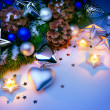 Art Christmas card with Christmas decorations blue background — ストック写真