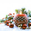 Christmas Decorations on white  background — Stock Photo