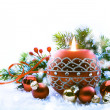 Christmas Decorations on white  background — Stockfoto