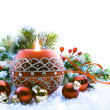 Christmas Decorations on white background — Stock Photo