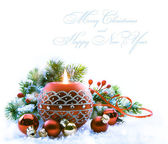 Christmas greeting card with Christmas Decorations on white bac — Stock Photo