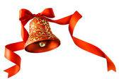 Christmas bells with red ribbon isolated on white background — Stock Photo