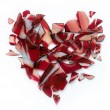 Valentines day banner broken heart on white background - Stock Photo