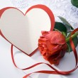 Art Valentines Day greeting card with red roses and heart - Stock Photo