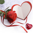 Art Valentines day greeting card with red roses and heart — Stok fotoğraf #8595993