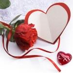 tarjeta de felicitación de Arte San Valentín día con rosas rojas y corazón — Foto de Stock