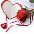 Art Valentines Day greeting card with red roses — Stock Photo