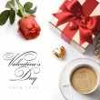 Art Valentines Day greeting card with red roses and gift box - Stock Photo