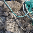 Art background, fishing net on the ship - Stock Photo