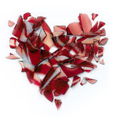 Valentines day banner broken heart on white background — Stock Photo