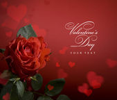 Art Valentines day greeting card with red roses and heart — Stock Photo