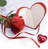 искусство валентинка с красные розы и сердца — Стоковое фото