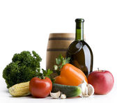 Art Still life with vegetables and a bottle — Stock Photo