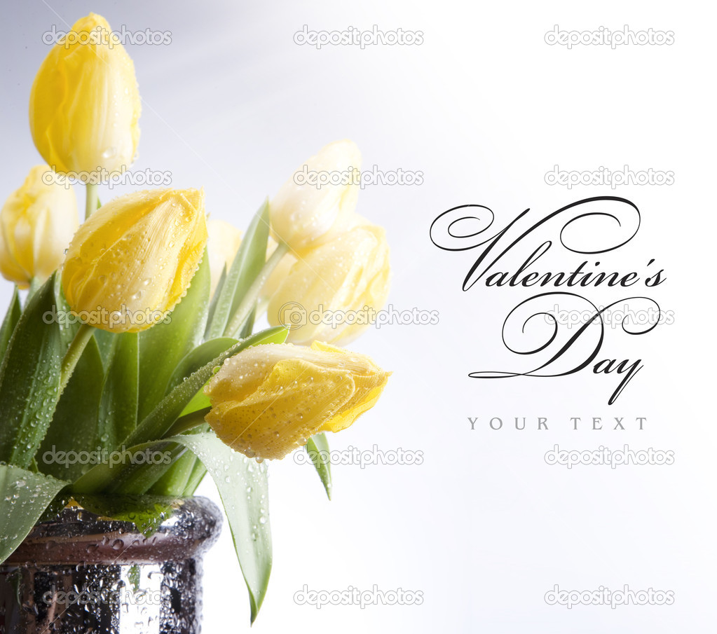 Art flowers tulips in the sunlight greeting card — Stock Photo #8595824