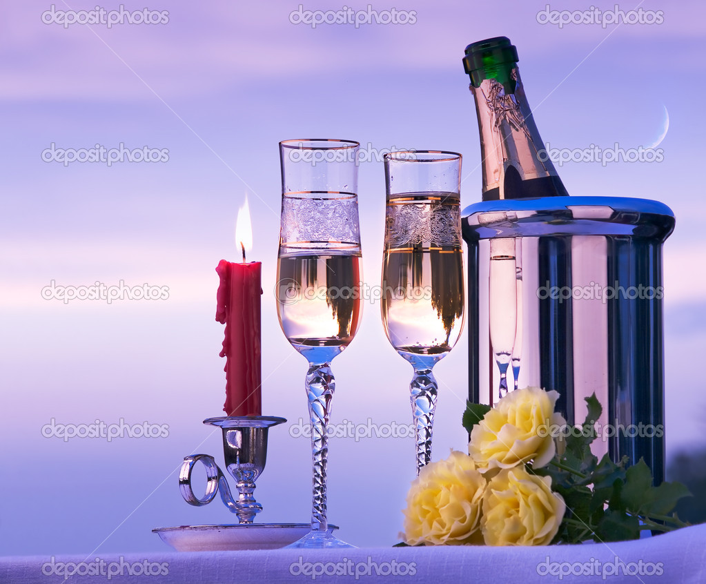 Happy romantic dinner with wine on the sky background  Stock Photo #8595890