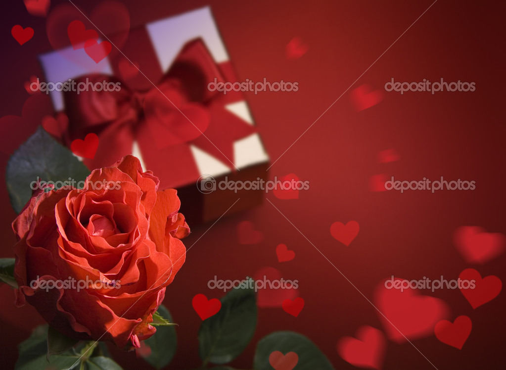 Valentine Day greeting card with red roses and heart on red background — Photo #8595924