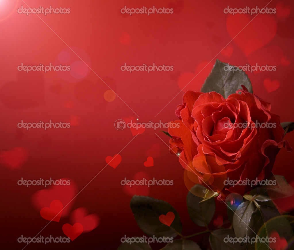 Greeting card with red roses and heart — Foto Stock #8595933