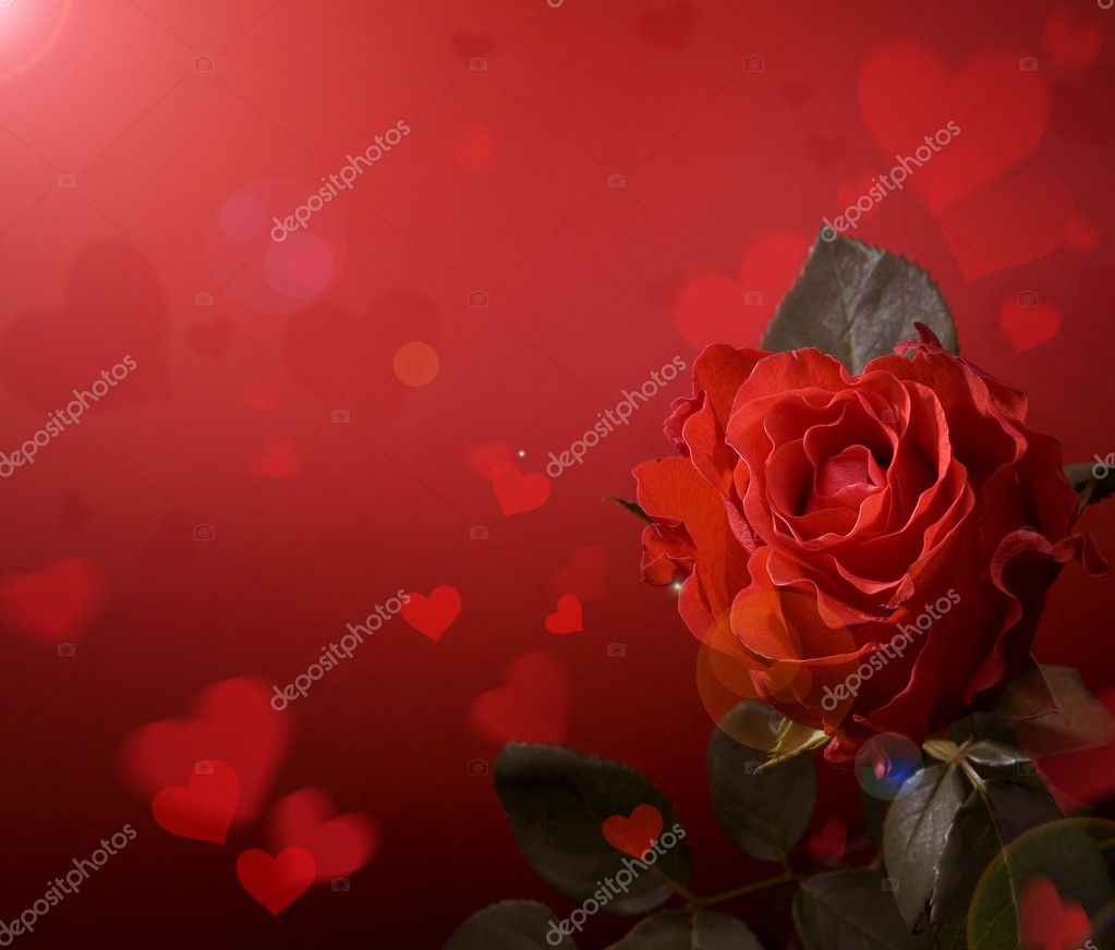Greeting card with red roses and heart — Photo #8595933