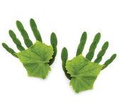 Mão de símbolo ecológico de fundo arte greenpeace primavera de natu — Fotografia Stock