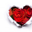 Art bouquet of red roses and the paper hearts on Valentine Day — Stock Photo