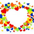Art colorful love hearts on a white background - Stock Photo