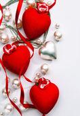 Arte design de um cartão com amor dia dos namorados feliz de coração — Fotografia Stock