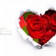 Art banner design of red roses and the paper heart on Valentine — Stock Photo