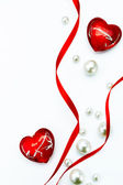 Art Design Valentine Day greeting card with red ribbon and love — Stock Photo