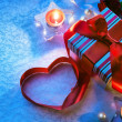 Art Valentine Day Gift box with red heart — Stock Photo