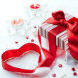 Stock Photo: Art Valentine Day Gift box with red ribbon bow heart