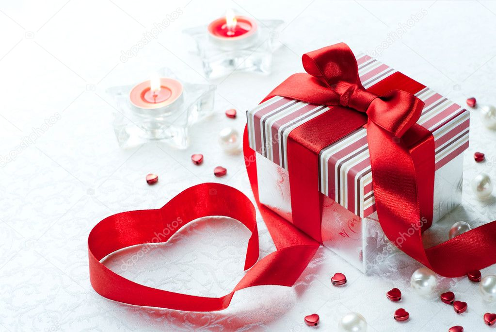 Art Valentine Day Gift box with red ribbon  bow heart  Stock Photo #8884791