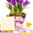 colorful painted easter eggs and spring flowers — Stock Photo