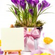 Colorful painted easter eggs and spring flowers — Stock fotografie