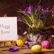 Vintage Easter card, spring flowers on a wooden background — Stock Photo #9365663